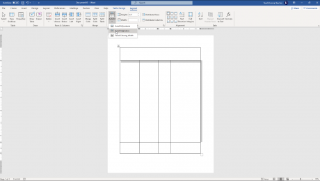 "Adjust Row Height and Column Width in Word Tables- Instructions: A picture of a table in Word being adjusted by using the ""AutoFit"" button in the ""Layout"" tab of the ""Table Tools"" contextual tab in the Ribbon of Word."