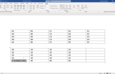 View Formulas in a Table in Word - Instructions: A picture of a formula in a table cell in Word.