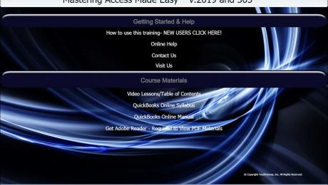 """A picture of TeachUcomp, Inc.'s """"Mastering Access Made Easy v.2019 and 365"""" training interface for digital downloads and DVDs."""