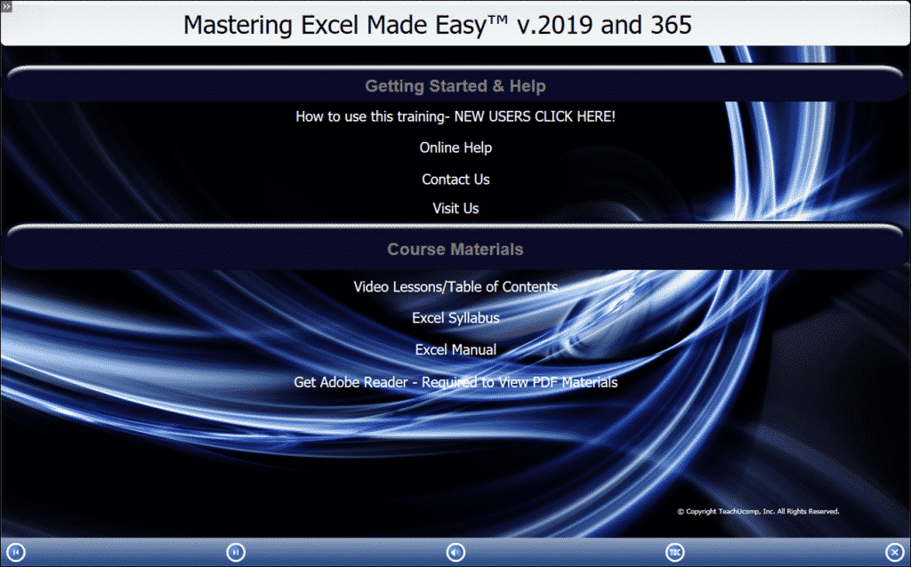 "Buy Excel 2019 and 365 Training: A picture of TeachUcomp, Inc.'s ""Mastering Excel Made Easy v.2019 and 365"" training interface for digital downloads and DVDs."
