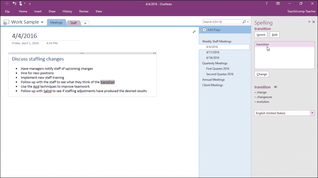 "Check Spelling in OneNote - Instructions: A picture of the ""Spelling"" pane shown at the right side of OneNote."