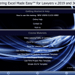 "Buy Excel 2019 and 365 Training for Lawyers: A picture of the training interface for the DVD and digital download versions of the ""Mastering Excel Made Easy for Lawyers v.2019 and 365"" tutorial."
