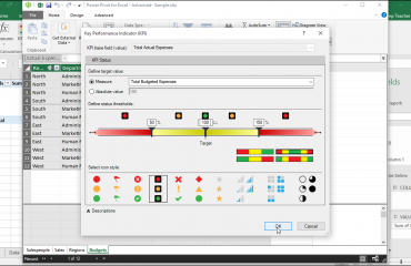 """Create a KPI in Power Pivot for Excel - Tutorial: A picture of the """"Key Performance Indicator (KPI)"""" dialog box in Power Pivot for Excel within Excel 2016."""