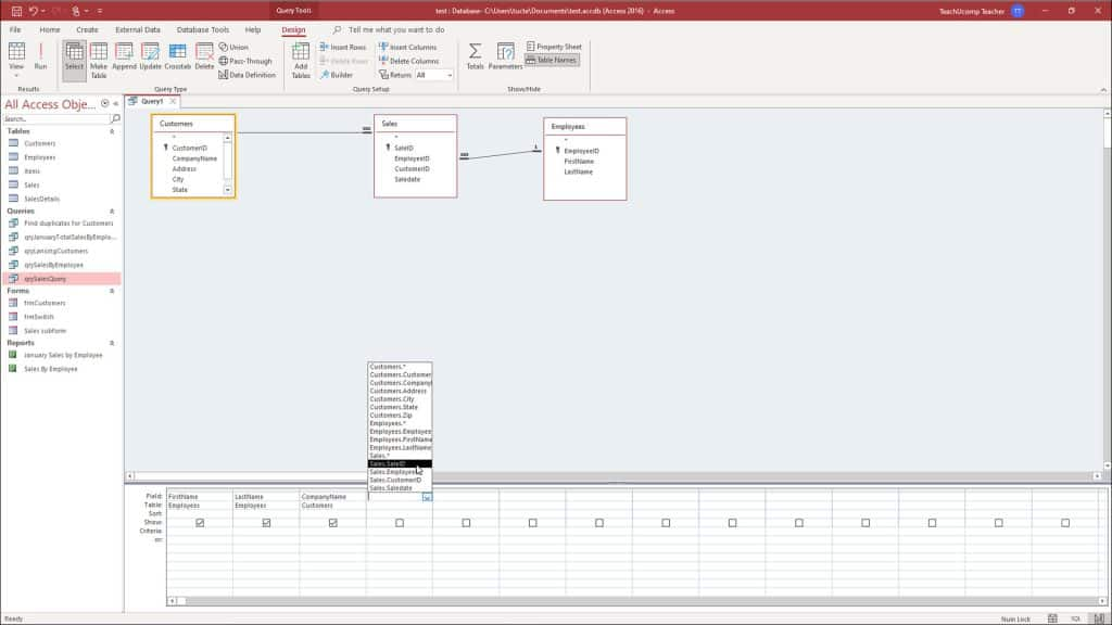 Create a Query in Access- Instructions and Video: A picture of a user creating a new query in Access in query design view.