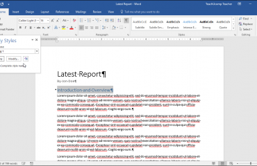 Apply Styles in Word - Tutorial: A picture of the
