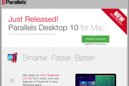 Parallels 10 Released: A picture of the upgrade web page for Parallels Desktop®- 10 for Mac.