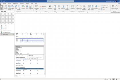Quick Tables in Word- Instructions: A picture of a user inserting a Quick Table in Microsoft Word.