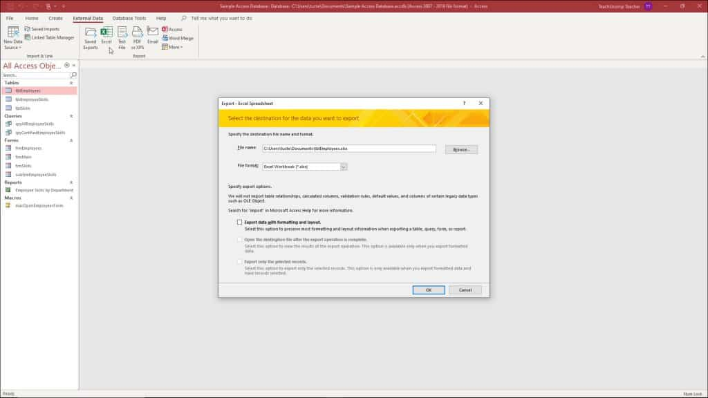 A picture that shows how to export data from Access for Microsoft 365 to Excel.