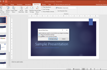 "Record a Slide Show in PowerPoint - Tutorial: A picture of the ""Record Slide Show"" dialog box in PowerPoint 2016."