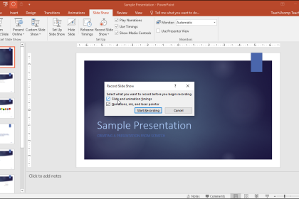 """Record a Slide Show in PowerPoint - Tutorial: A picture of the """"Record Slide Show"""" dialog box in PowerPoint 2016."""