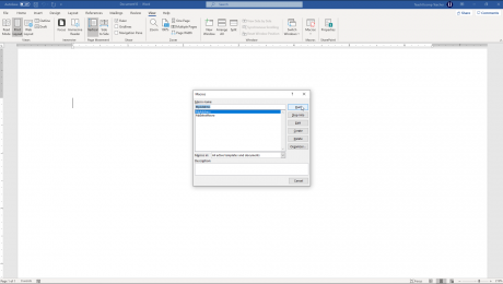 "Run a Macro in Word- Instructions: A picture of the ""Macros"" dialog box in Microsoft Word."