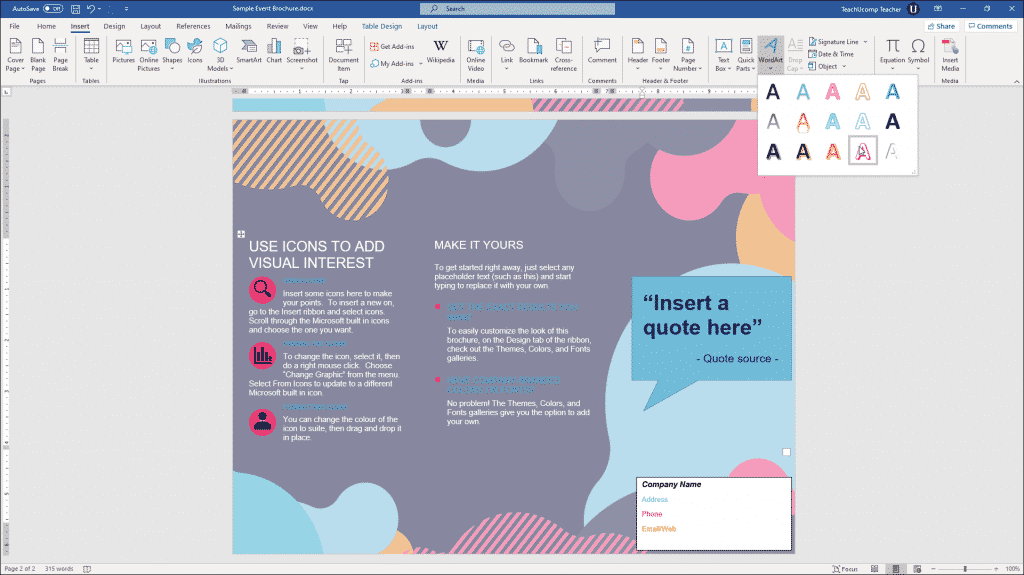 Insert WordArt in Word - Instructions: A picture of a user inserting WordArt into a document in Word.