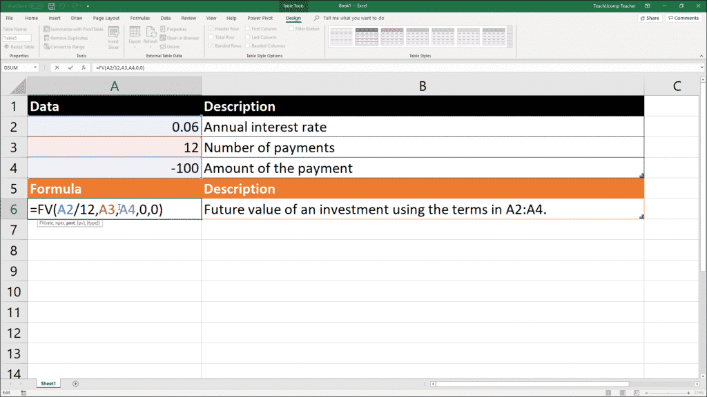 The Fv Function- Excel for Lawyers Tutorial: A picture of a user writing the Fv function in Excel.