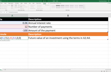 The Fv Function- Excel for Lawyers Tutorial: A picture of the Fv function being used in Excel.