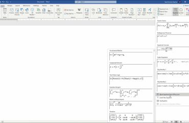 Insert Equations in Word - Instructions: A picture that shows how to insert a preset equation into a Word document.