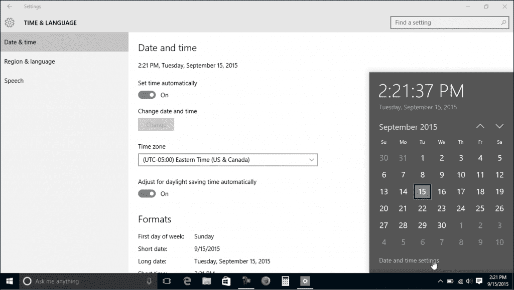 "Change the Date and Time in Windows 10 - Tutorial: A picture of the ""Date and time"" settings in Windows 10 and the pop-up window that appears when you click the date/time display in the Windows 10 taskbar."