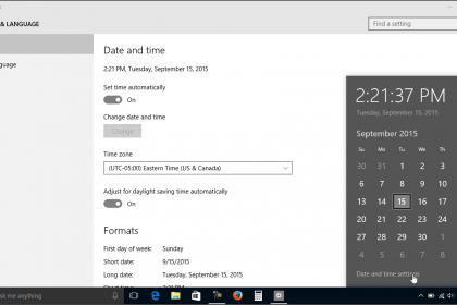 """Change the Date and Time in Windows 10 - Tutorial: A picture of the """"Date and time"""" settings in Windows 10 and the pop-up window that appears when you click the date/time display in the Windows 10 taskbar."""