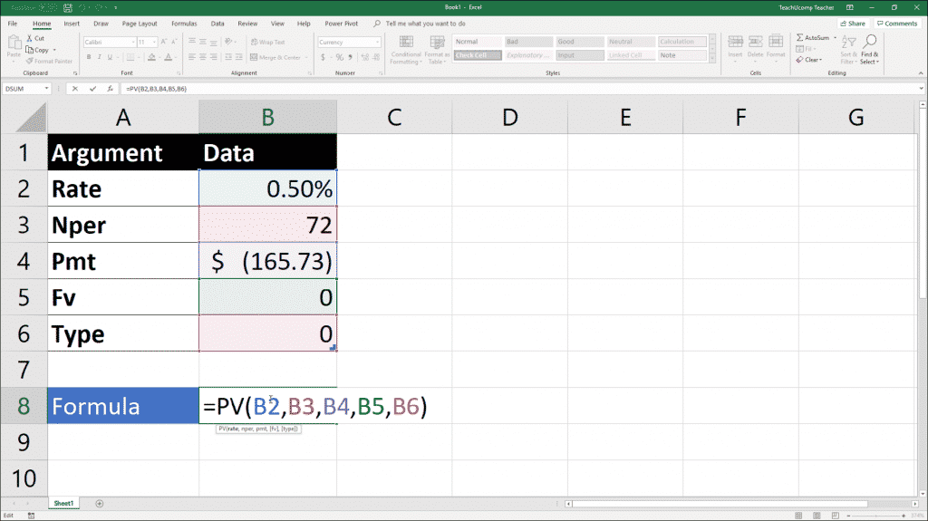 The Pv Function- Excel for Lawyers Tutorial: A picture of a user creating a formula that uses the Pv function in Excel.