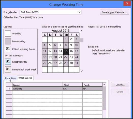 "A picture of the ""Change Working Time"" dialog box in Project 2013 being used to create a new base calendar."