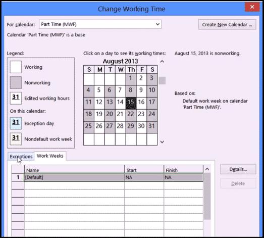 Create a New Base Calendar in Microsoft Project