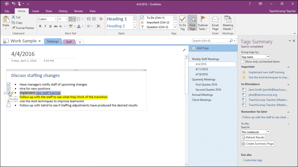 "Tags in OneNote - Tutorial: A picture of a user marking a ""To Do"" tag as ""done"" by checking the checkbox for the tag in OneNote 2016."