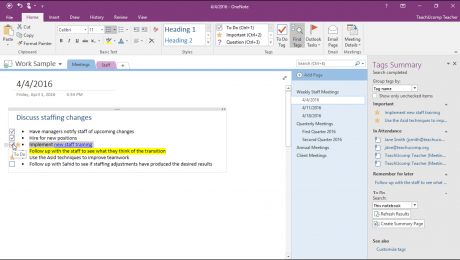 Tags in OneNote - Tutorial: A picture of a user marking a