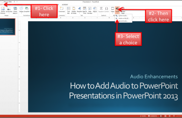 A picture that shows how to add music to PowerPoint presentations in PowerPoint 2013.