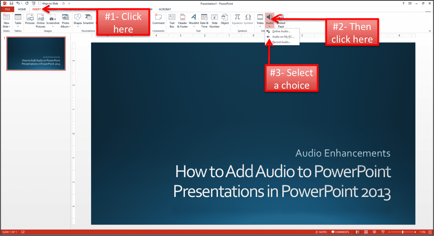 How to add music to powerpoint presentations in powerpoint 2013