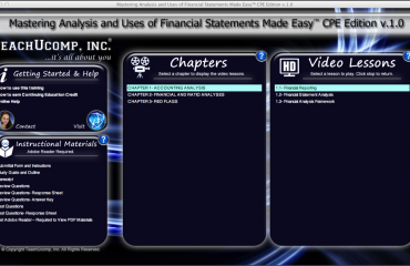 "A picture of the training interface for the ""Mastering Analysis and Uses of Financial Statements Made Easy v.1.0"