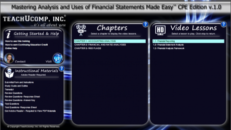 """A picture of the training interface for the """"Mastering Analysis and Uses of Financial Statements Made Easy v.1.0"""