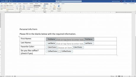 """Create a Form in Word- Instructions and Video Lesson: A picture of a user creating a form in Word by using the """"Developer"""" tab in the Ribbon."""