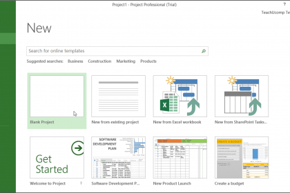 Create New Projects in Microsoft Project- Tutorial: A picture of the