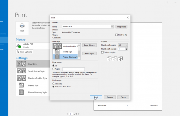 """Print Contacts in Outlook – Tutorial: A picture of the """"Print"""" dialog box shown when printing contacts in Outlook 2016."""
