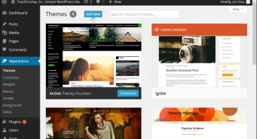 "Install a Custom Theme in WordPress - Tutorial: A picture of a user clicking the ""Add New"" button in the ""Themes"" page of the ""Appearance"" category in the WordPress Admin Panel."