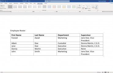 "Format Tables in Word - Instructions: A picture of a user selecting table style options on the ""Table Design"" contextual tab of the Ribbon in Word for Microsoft 365."