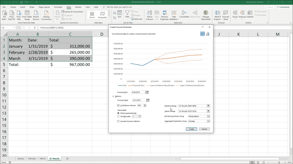 "Forecast Sheets in Excel - Instructions: A picture of the ""Create Forecast Sheet"" dialog box in Excel."