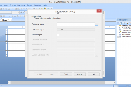 Access or Excel DAO in Crystal Reports 2013- Tutorial: A picture of the