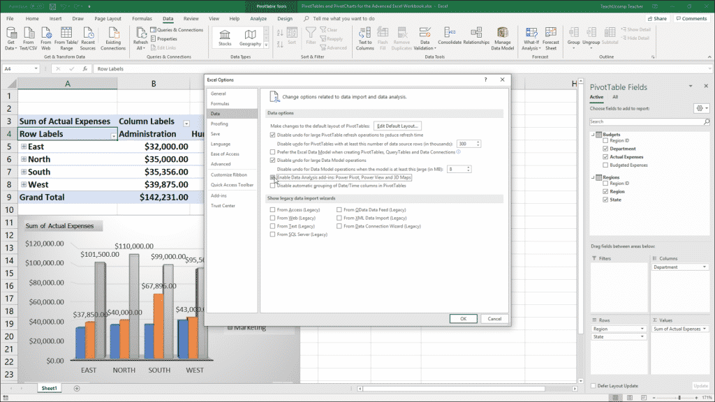 "Enable Power Pivot in Excel - Instructions: A picture of a user enabling the Data Analysis add-ins within the ""Excel Options"" window in Excel for Office 365."