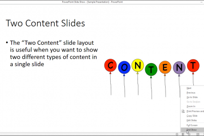 PowerPoint Reading View- Tutorial: A picture of a presentation shown in Reading View in PowerPoint 2016.