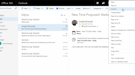 Forward an Email in Outlook on the Web - Instructions: A picture of a forwarded email being sent to a new recipient in Outlook on the Web in Office 365.