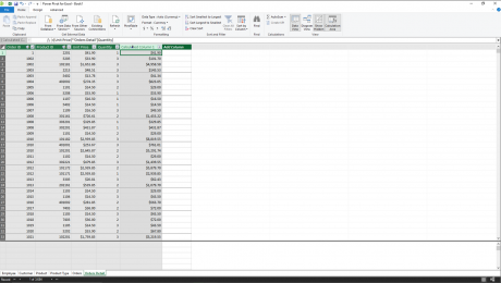 Create Calculated Columns in Power Pivot in Excel - Instructions: A picture of a user creating a calculated column in the data model window of Power Pivot in Excel by typing a simple formula.