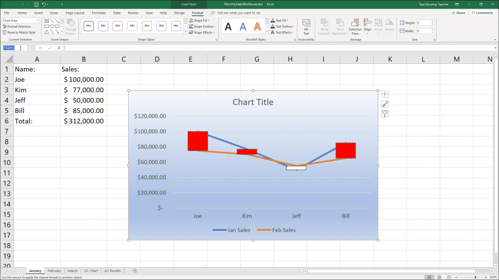 """Name an Embedded Chart in Excel - Instructions: A picture of a user naming an embedded chart by using the """"Name Box"""" in the Formula Bar in Excel."""
