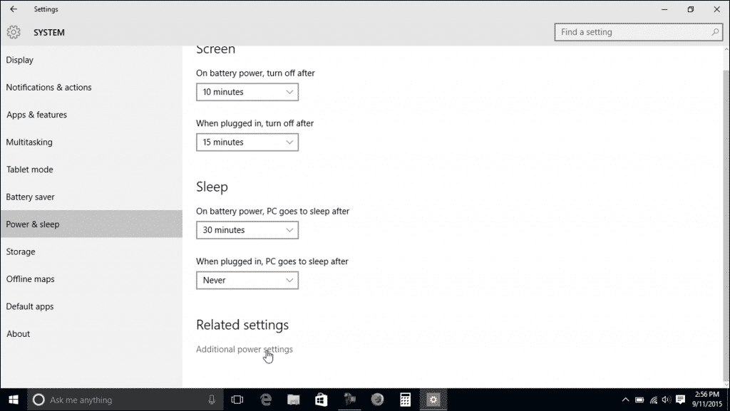 "Power Settings in Windows 10 - Tutorial: A picture of the ""Power & sleep"" settings in Windows 10."