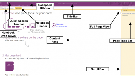 The OneNote Interface- Tutorial: A picture of the OneNote interface in OneNote 2016.