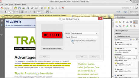 Add Stamps and Create Stamps in Acrobat XI Pro- Tutorial: A picture of the