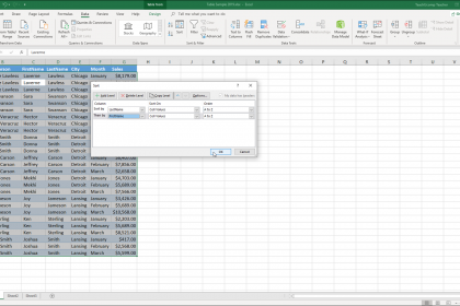 """Sort a Table in Excel - Instructions: A picture of the """"Sort"""" dialog box within Excel for Office 365."""