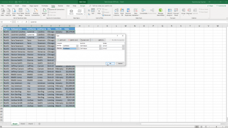 "Sort a Table in Excel - Instructions: A picture of the ""Sort"" dialog box within Excel for Office 365."