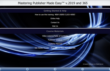 "Buy Publisher 2019 and 365 Training: A picture of TeachUcomp, Inc.'s ""Mastering Publisher Made Easy v.2019 and 365"" training interface for digital downloads and DVDs."