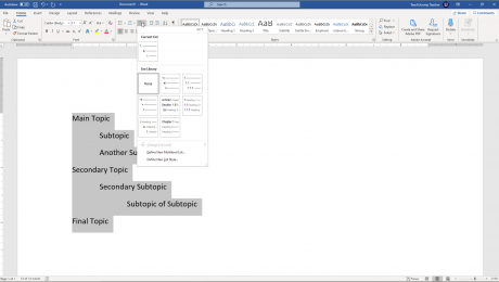 Apply a Multilevel List in Word- Instructions: A picture of a user applying a multilevel list format to an outlined list in a Word document.