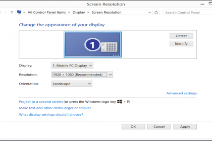 Change Screen Resolution in Windows 8.1: A picture of the